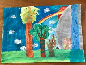 """Schülerarbeit aus dem Gemeinschaftsprojekt """"Die Kunst der Bibel begegnen"""" - Ev. Mörike Gymnasium / -Realschule und Galerie Wiedmann"""